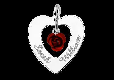 Silber Namensanhänger Herz 2 Namen Rose