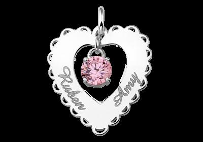 Silber Namensanhänger Herz Rand 2 Namen Zirkonia rosa